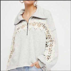 Free People Half Zip Lace Trim Sweatshirt Gray